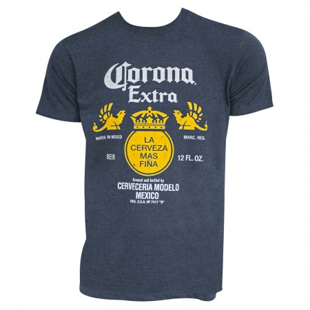 Corona Extra Men's Heather Blue Bottle Label Logo T-Shirt