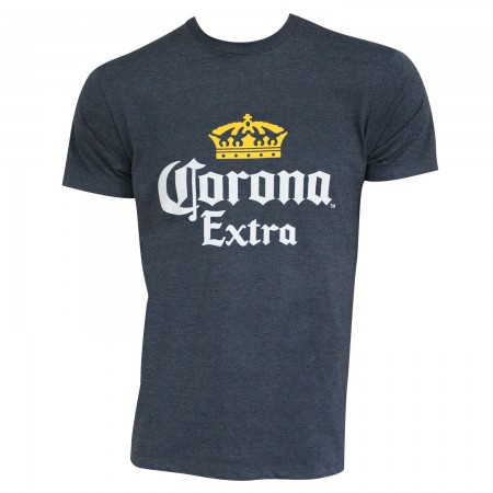 Corona Extra Men's Heather Blue Basic Crown Logo T-Shirt