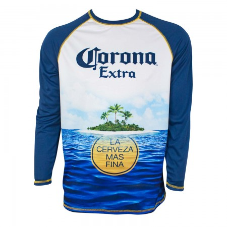 Corona Extra Men's Navy Blue Long Sleeve Rash Guard T-Shirt