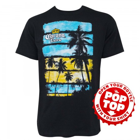 Corona Striped Palm Trees Black Pop Top Bottle Opener T-Shirt