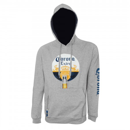 Corona Round Logo Beer Pouch Hoodie With Bottle Opener