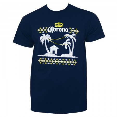 Corona Extra Men's Navy Blue Ugly Sweater T-Shirt