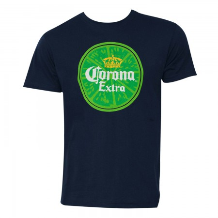 Corona Extra Beer Men's Navy Blue Lime T-Shirt