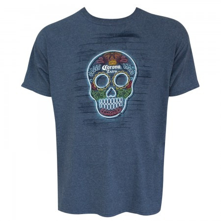 Corona Extra Men's Heather Blue Skull Logo T-Shirt