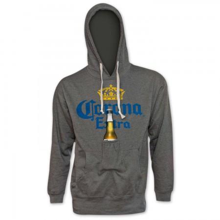 Corona Extra Pop Top Bottle Opener Beer Pouch Hoodie
