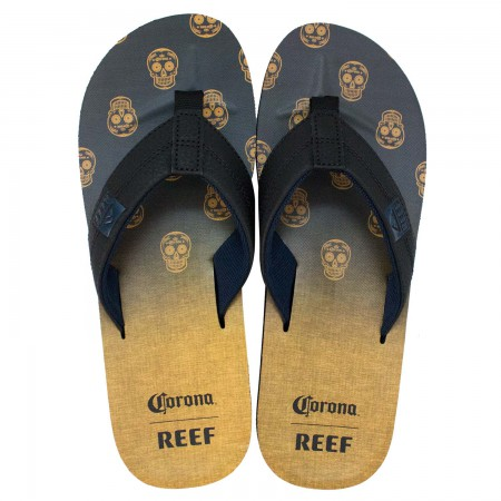 Corona Extra Reef Black And Yellow Sugar Skulls Bottle Opener Flip Flops