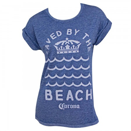 Corona Saved By The Beach Women's Rolled Sleeves Tshirt