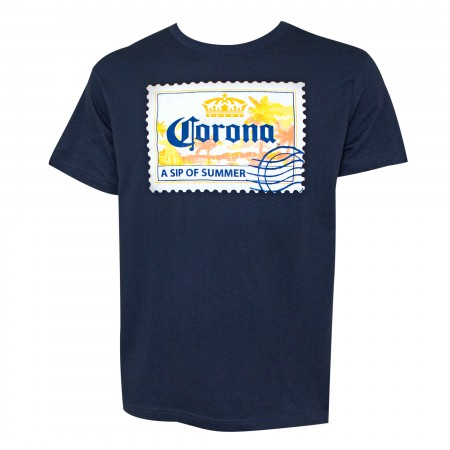 Corona Beer Relax Responsibly Postcard Men's Blue T-Shirt