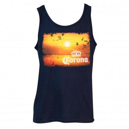 Corona Extra Men's Navy Blue Sunset Tank Top