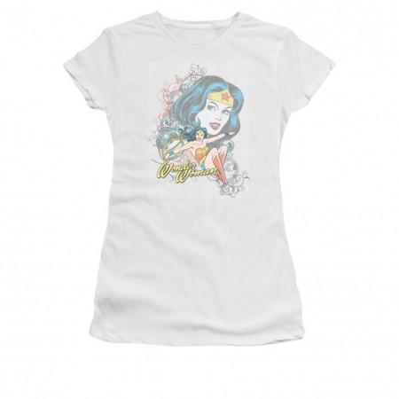 Wonder Woman Scroll White Juniors T-Shirt