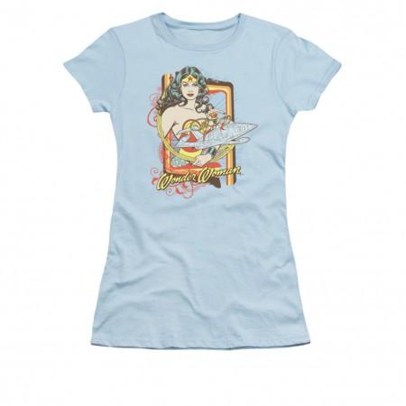 Wonder Woman Invisible Jet Blue Juniors T-Shirt