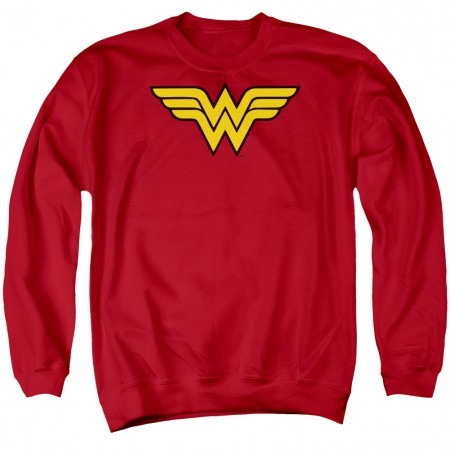 Wonder Woman Logo Red Crewneck Sweatshirt