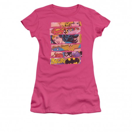 Wonder Woman Batgirl Supergirl Three Of A Kind Pink Juniors T-Shirt