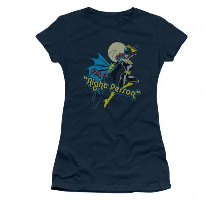 Batman Batgirl Navy Night Person Juniors T-Shirt