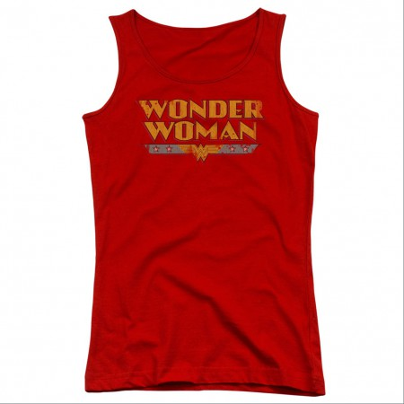 Wonder Woman Title Logo Red Juniors Tank Top