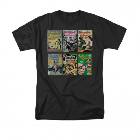 Wonder Woman Comic Covers Black T-Shirt
