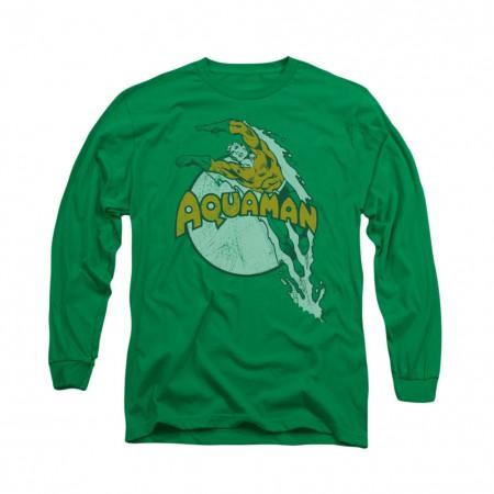Aquaman Splash Green Long Sleeve T-Shirt