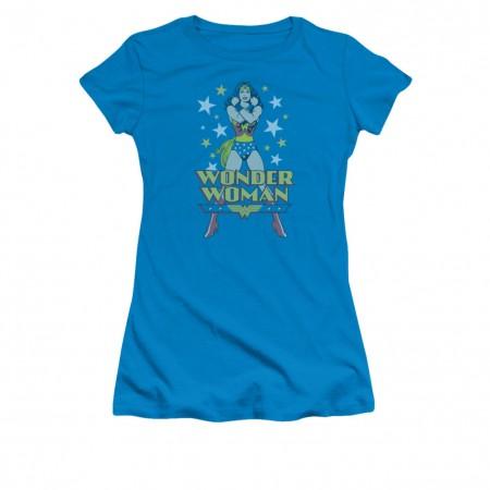 Wonder Woman Stance Blue Juniors T-Shirt