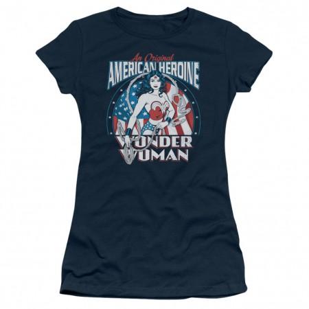 Wonder Woman American Heroine Women's Blue Tshirt