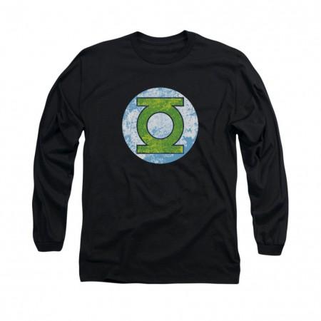 Green Lantern Neon Distress Logo Black Long Sleeve T-Shirt