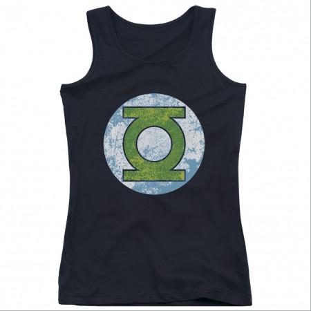 Green Lantern Neon Logo Black Juniors Tank Top