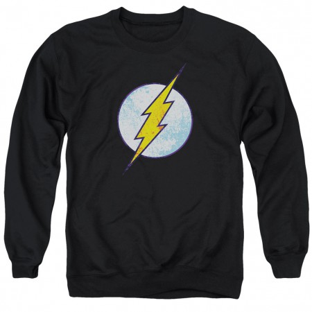 The Flash Distressed Logo Black Crewneck Sweatshirt