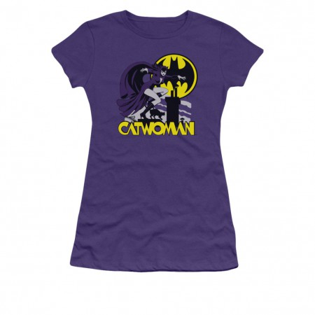 Batman Catwoman Rooftop Purple Juniors T-Shirt