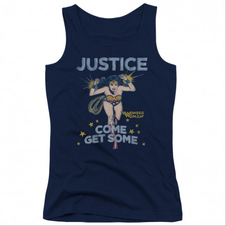 Wonder Woman Come Get Some Blue Juniors Tank Top