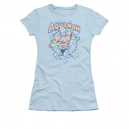 Aquaman Juniors Blue Bubbles T-Shirt