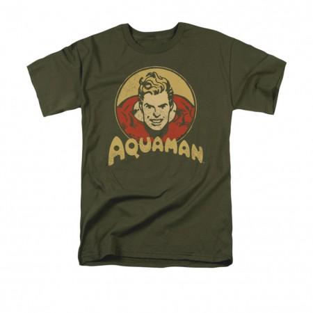 Aquaman Retro Circle Logo Gray T-Shirt