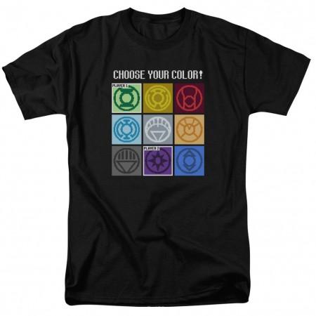 Green Lantern Choose Logo Pixel Gamer Black T-Shirt