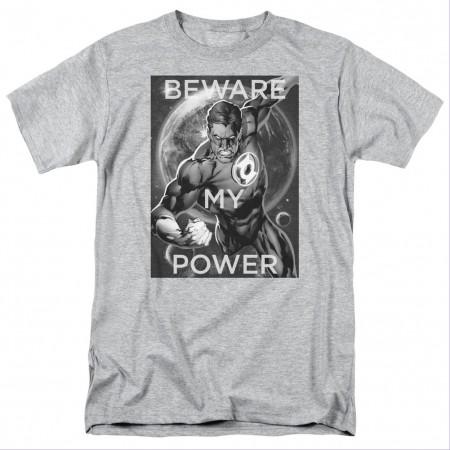 Green Lantern Beware My Power Gray T-Shirt