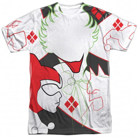 Joker and Harley Quinn Line Drawing Front and Back Print Men's T-Shirt