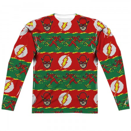 The Flash Ugly Christmas Sweater Print Long Sleeve Tee