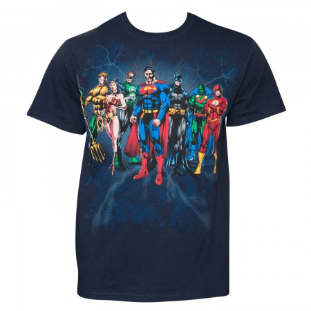 Justice League Men's Navy Blue Squad T-Shirt