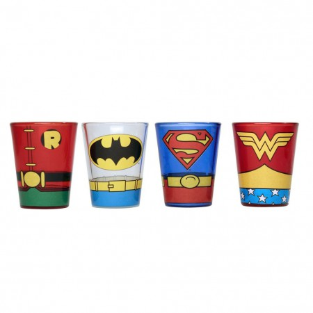 DC Superheroes Comic Uniforms 4 PC Shot Glass Set