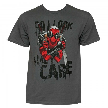 Deadpool Like I Care Men's Grey T-Shirt