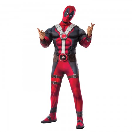 Deadpool Suit Muscle Chest Adult Halloween Costume