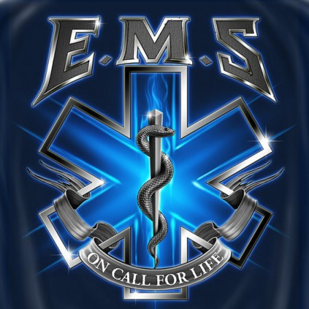 EMS On Call For Life USA Patriotic Navy Graphic T Shirt