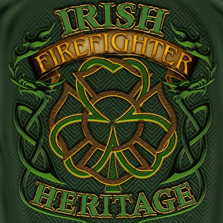Firefighter Irish Heritage St. Patrick's Day Green T Shirt