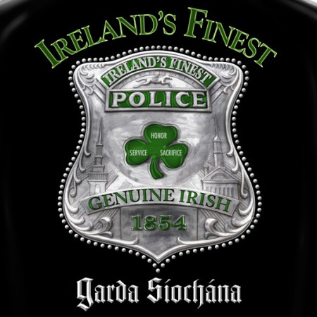 Ireland's Finest Police St. Patrick's Day Black Graphic T Shirt