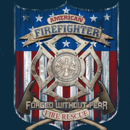 Firefighter Forged Without Fear USA Navy Long Sleeve T Shirt