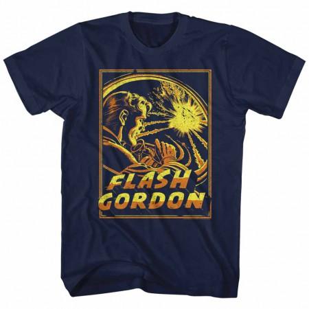 Flash Gordon Space Explosion Mens Blue T-Shirt