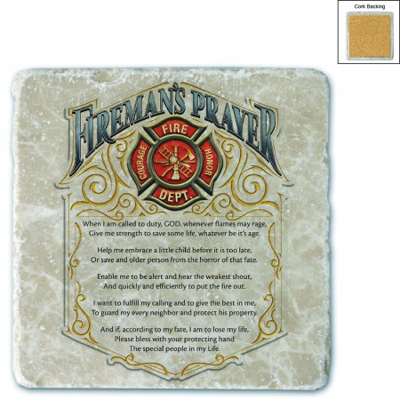 Fire Fighter's Prayer Stone Coaster