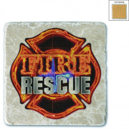 Firefighter Fire Rescue Stone Coaster
