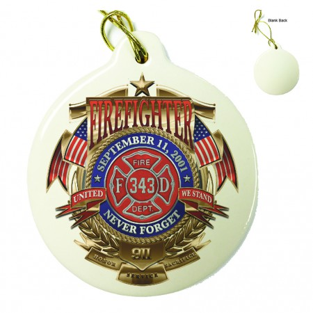 Firefighter Badge Of Honor Porcelain Ornament