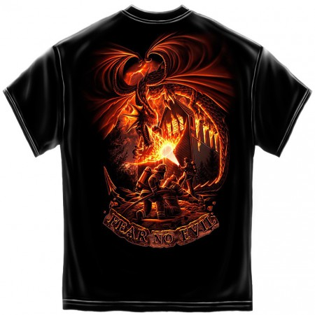 Men's Black Firefighter Fear No Evil TShirt