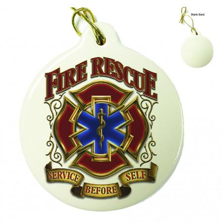 Fire Rescue Gold Shield Porcelain Ornament