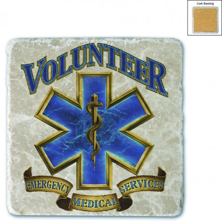 Volunteer EMS Gold Shield Stone Coaster