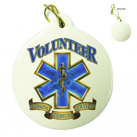 Volunteer EMS Gold Shield Porcelain Ornament